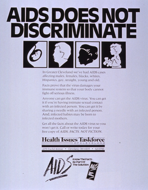 <p>White poster with black lettering.  Title at top of poster.  Visual image below title.  Image consists of four illustrations including a fetus in utero, silhouettes of a man and a woman, and a baby.  Caption below illustrations.  Publisher information below caption.  Note at bottom of poster.</p>
