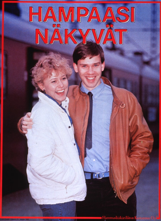 <p>Multicolor poster with red and black lettering.  Title at top of poster.  Title deals with teeth and visibility, possibly in the sense of showing a smile or a &quot;toothy grin.&quot;  Visual image is a color photo reproduction featuring a smiling male-female couple.  Publisher information at bottom of poster.</p>
