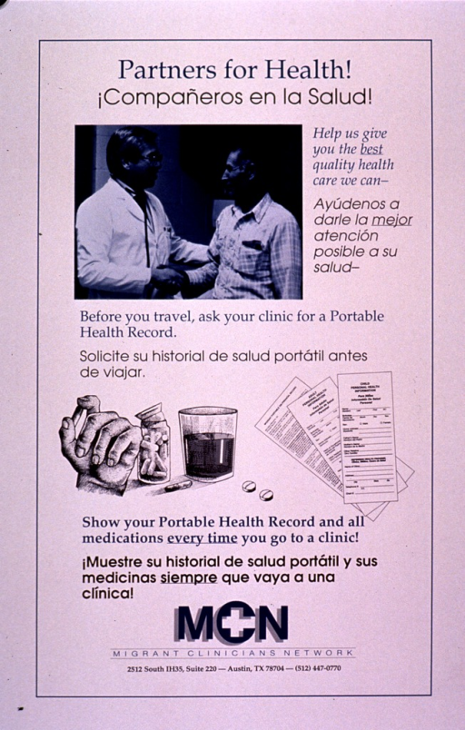 <p>Predominantly white poster with blue and black lettering.  Title in English and Spanish at top of poster.  Visual images are a blue-tinted photo reproduction of a man shaking hands with a healthcare worker and illustrations of a hand, some pills, and portable health records.  Additional text in both English and Spanish encourages asking for a portable health record and taking the record and any medications along when going to a clinic.  Publisher information at bottom of poster.</p>