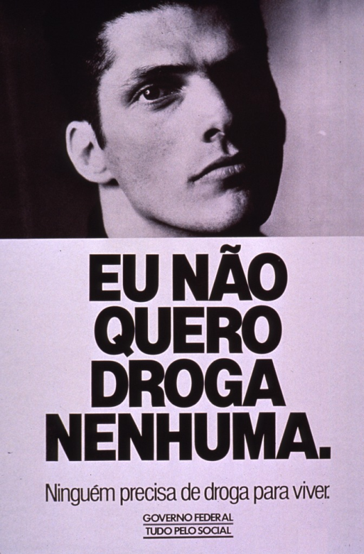 <p>Predominantly white poster with black lettering.  Visual image is a b&amp;w photo reproduction featuring a young man's face.  Title below photo.  Publisher information and note at bottom of poster.  Note may address government social policy.</p>