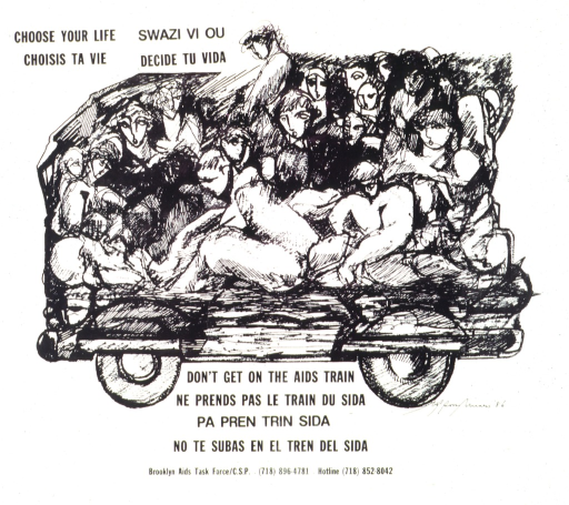 <p>Drawing of people crowded onto a vehicle.</p>
