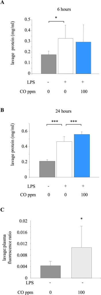 Impact of CO on pulmonary barrier permeability.A. Lung lavage fluid total protein concentration from untreated animals (no LPS or CO), or mice exposed to 0 or 100 ppm carbon monoxide (CO) for 6 hours after LPS instillation. *p<0.05 vs LPS +0 ppm CO; n = 8 for untreated animals and 15–16 for LPS treated groups. B. Lung lavage fluid total protein concentration from untreated animals or mice exposed to 0 or 100 ppm CO for 24 hours after LPS instillation. ***p<0.001 vs LPS +0 ppm CO; n = 7–8/group. C. Permeability was also assessed in both untreated mice (no LPS or CO) and animals receiving 100 ppm CO alone for 6 hours (no LPS) by determining translocation of a fluorescence-labelled albumin from plasma to alveolar space over a 1 hour period. Data are expressed as a ratio of fluorescence between lavage fluid and plasma. *p<0.05 vs untreated group; n = 6–7.