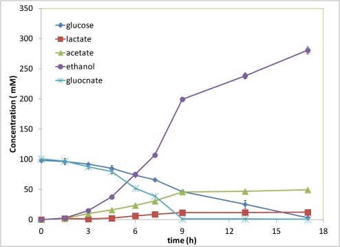 Ethanol and acetic acid production from glucose and gluconate co-fermentation.