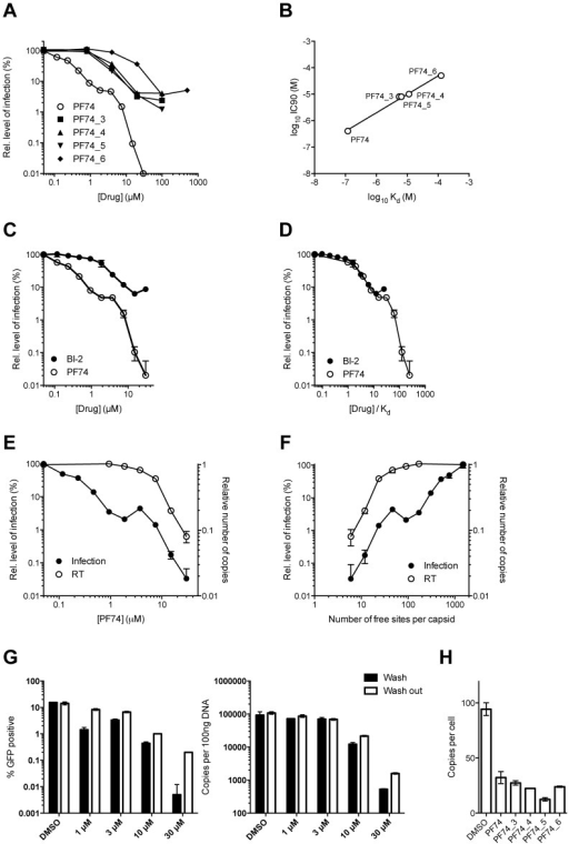 Inhibition of HIV-1 infection by BI-2, PF74 and PF74 derivatives.(A) Titration of PF74 or indicated derivatives onto HeLa cells infected with VSV-G pseudotyped GFP-encoding HIV-1 vector. For each titration, infectivity is normalised to the level in the absence of inhibitor (100%). (B) Correlation between the IC90 values derived from (A) and the Kd values for purified hexameric capsid as calculated by ITC (Figure 8). The values are highly correlative with a Pearson correlation coefficient of 0.9928 and a P-value of 0.0007. (C) Titration of PF74 or BI-2 onto cells infected with VSV-G pseudotyped GFP-encoding HIV-1 vectors, normalized as in (A). (D) Data from (C) but with infectivity plotted against drug concentration divided by affinity to hexamer as calculated by ITC. (E) Titres of VSV-G pseudotyped GFP-encoding HIV-1 vectors 48 h post-infection and levels of reverse transcription (RT) 4 h post-infection under conditions of PF74 inhibition. For both measures, data are normalized to the values obtained in the absence of inhibitor. (F) Data from (E), except plotted against the calculated level of CA occupancy by PF74. The occupancy was calculated assuming that there are 1500 free sites per capsid and that number of free sites = 1500(1−([PF74]/Kd[PF74])) (G) Infectivity and reverse transcription in cells infected in the presence of PF74 (wash) or when removed after four hours (wash out). Reverse transcription was then measured after a further 4 h, while infectivity was determined 48 h post-infection. (H) Levels of reverse transcription 4 h post-infection of HeLa cells in the presence of PF74 and its derivatives at 20× IC9o drug concentrations.