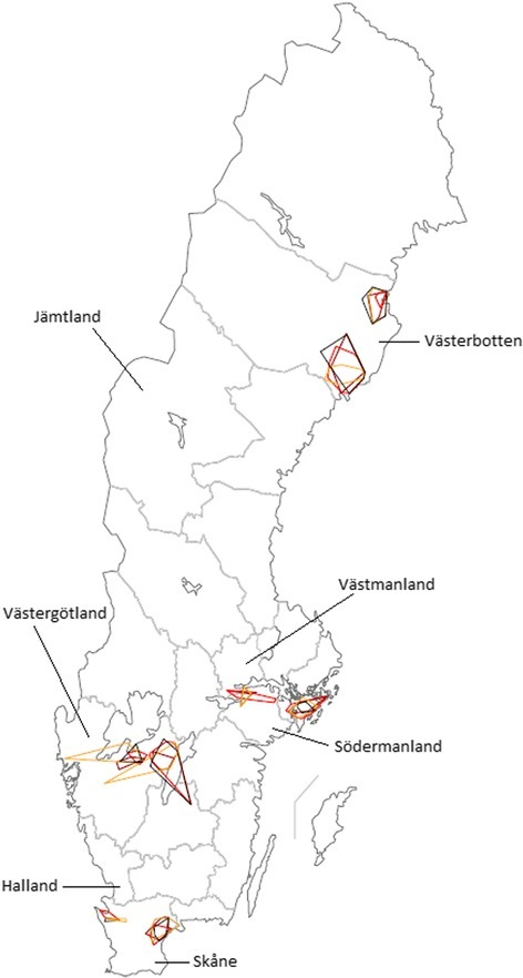 Geographic area travelled by Swedish veterinarians, per veterinary practice and week. Travel area of Swedish veterinarians employed at eight mixed practices in 2012 and 2013 as reported in Vet@Journal, scale 1: 7 500 000. Time periods depicted: 8 – 14 October, 2012: yellow; 7 –13 January, 2013: black; 8 – 14 April, 2013: red; 8 – 14 July, 2013: brown.