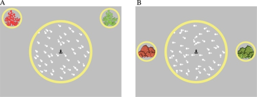 "Schematic representation of stimuli presented in the 'high noise' condition of the equivalent noise task (A) and the motion coherence task (B). The anchor-shaped fixation point, central yellow aperture and green (left) and red (right) ""reefs"" or ""rocks"" remained on the screen throughout the trial."