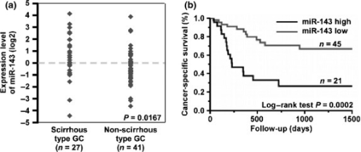 Relation between microRNA-143 (miR-143) expression and patient prognosis. (a) Expression levels of miR-143 in formalin-fixed paraffin-embedded gastric cancer (GC) tissue samples (n = 68) were measured by quantitative RT-PCR analysis. (b) Cancer-specific survival of 68 patients with GC based on expression levels of miR-143 was examined. The expression levels of miR-143 were divided into two groups, high and low expression of miR-143, based on one-third of the miR-143 expression level (cut-off line = one-third of miR-143 expression level in this group).