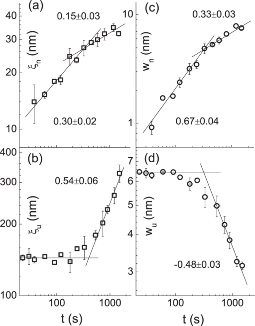 The temporal dependence of the correlation length, , is shown in panel (a) and (b). The evolution of the interface width, , is displayed in panel (c) and (d). The subscripts n and u stand for the nano-size protuberances and underlying structure, respectively. The error bar on each data point indicates the standard deviation from the mean value determined from at least four different locations on the surface of each film. The measured slope and standard fitting error are written in each panel.