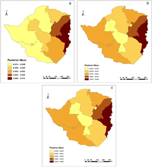 Residual spatial effects on fever in a) 1999, b) 2005/6, and c) 2010/11