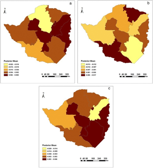 Residual spatial effects on cough in a) 1999, b) 2005/6, and c) 2010/11