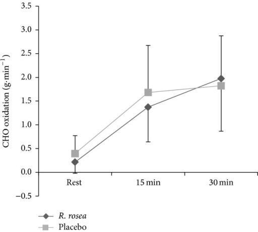 Mean ± S.D. total CHO oxidation rate (g·min−1) during 30 min submaximal cycling between R. rosea and placebo conditions.