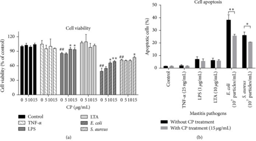 Effects of propolis on mastitis pathogen-induced cell viability decreases and cell apoptosis in MAC-T cells. (a) MAC-T cells were treated with propolis and/or various mastitis pathogens, including proinflammatory cytokine (TNF-α 25 ng/mL), bacterial cell wall components (LPS, 1 μg/mL; LTA, 10 μg/mL), and heat-killed mastitis strains (Escherichia coli and Staphylococcus aureus, 107 particles/mL) with indicated concentrations of propolis for 24 h. The CCK-8 assay was performed to determine cell viability. ##P < 0.01 and ###P < 0.001 significantly different from untreated cells. ∗P < 0.05 and ∗∗P < 0.01 significantly different from mastitis pathogens-treated cells. (b) After being pretreated with or without Chinese propolis (15 μg/mL) for 1 h, MAC-T cells were challenged with various mastitis pathogens for 24 h. Cell apoptosis was analyzed by flow cytometry analysis using annexin V-FITC and PI staining. The data are expressed as the mean ± SD (n = 3). ∗P < 0.05 and ∗∗P < 0.01.
