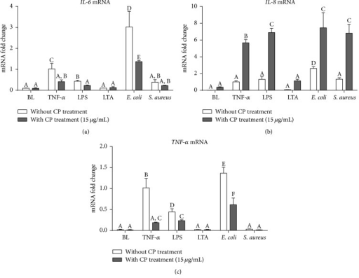 Effects of CP treatment on proinflammatory responses following mastitis pathogen challenges in MAC-T cells. Quantitative PCR analysis of inflammatory cytokine genes, IL-6 (a), IL-8 (b), and TNF-α (c), showing gene expressions after 6 h incubation of MAC-T cells with each different mastitis pathogen, including proinflammatory cytokine (TNF-α 25 ng/mL), bacterial cell wall components (LPS, 1 μg/mL; LTA, 10 μg/mL), and heat-killed mastitis strains (E. coli and S. aureus, 107 particles/mL). Ct values of target genes were normalized to the value of β-actin and relative gene expressions in TNF-α control group were arbitrarily set to one. The data are shown as mean ± SD from three independent experiments and were analyzed by one-way ANOVA with the Student-Newman-Keuls method. The means with different superscripts are significantly different (P < 0.05).