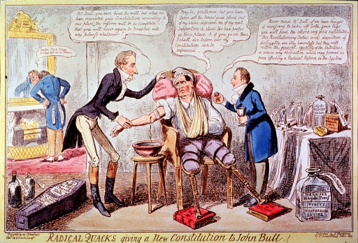 <p>A man is sitting in a chair between two physicians, his right arm is being bled, left arm is in a sling, and both legs have been amputated above the knee and fitted with pegs. A small coffin on the floor contains his legs; several bottles are on a table.</p>