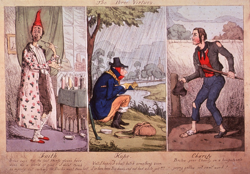 <p>Caricature in three panels:  A man is taking a spoonful of medicine and standing before a table covered with bottles; a man bundled up against the rain, is sitting under a tree fishing; a man with bandaged foot and torn clothes is begging for charity.</p>