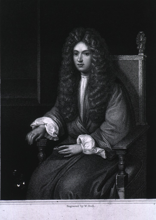 <p>Three-quarter length, seated, full face, wearing wig and gown.</p>