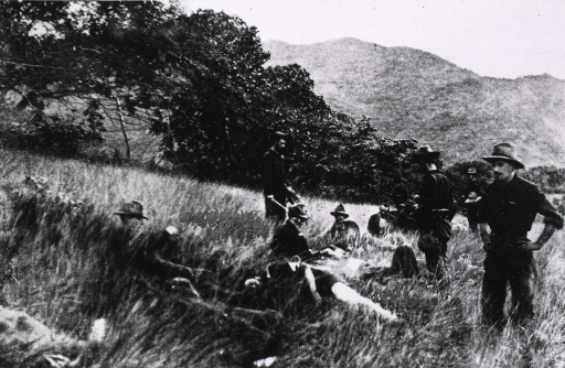 <p>Caring for the wounded on the field, during the battle of El Caney, Jul. 1, 1898, Cuba.</p>
