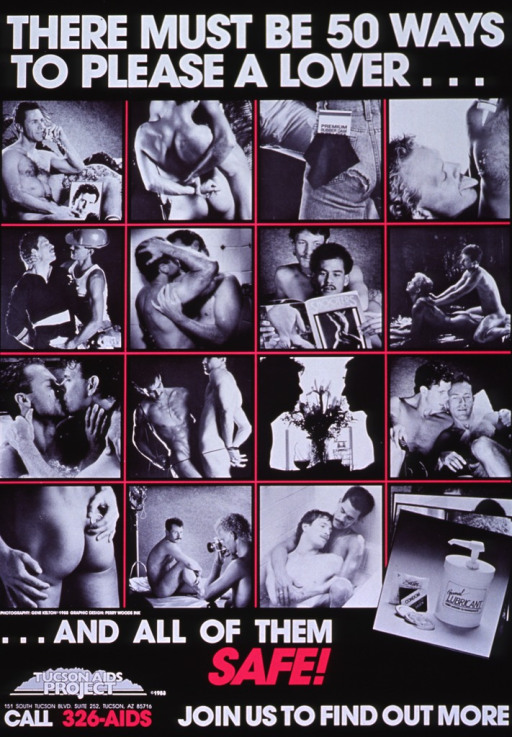 <p>Black poster with white and fuchsia lettering.  Initial title words at top of poster.  Dominant visual image is a series of b&amp;w photo reproductions.  The photos appear in an array, four rows by four columns, and depict intimate scenes between men.  A couple of scenes highlight condoms or other barriers to fluid exchange, but most are suggestive of foreplay or nonsexual intimacy.  Remaining title words, note, and publisher logo appear below photo array.</p>