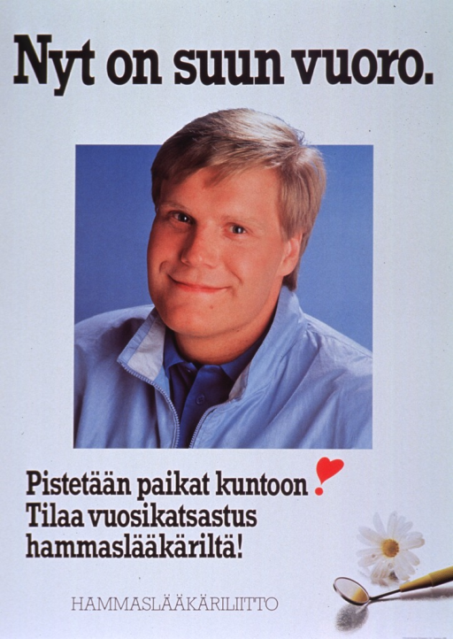 <p>Predominantly white poster with black lettering.  Title at top of poster.  Visual image is a color photo reproduction featuring a smiling man.  Caption below photo appears to urge reader to call the dentist for a check-up.  Photo reproduction showing a dental mirror and daisy in lower right corner.  Publisher information at bottom of poster.</p>