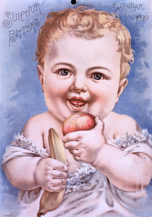 <p>A.P. Ordway &amp; Co.  Sulphur bitters.  Visual motif:  Showing a baby holding a banana and what appears to be a peach.</p>