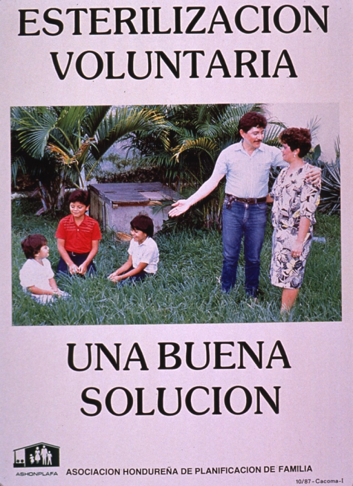 <p>Predominantly white poster with black and green lettering.  Initial title phrase at top of poster.  Visual image is a color photo reproduction featuring a five-member family in an outdoor setting.  The parents stand and three children sit on the ground.  Remaining title text below photo.  Publisher information at bottom of poster.</p>