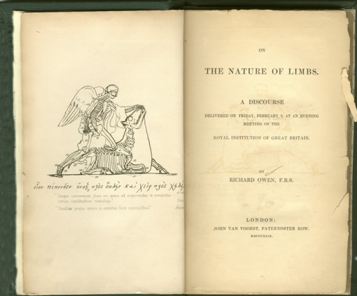 <p>Image of frontispiece and title page. Frontispiece shows winged man with one knee resting on prone horse. Skeletons visible.</p>