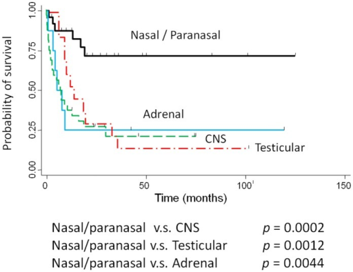 Comparison of overall survival between localized nasal/paranasal DLBCL and localized adrenal, CNS, and testicular DLBCLs.