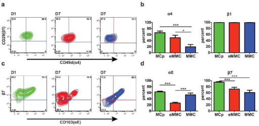 Expression of α4, αE, β7, and β1 integrins on the inducible MC populations in the lung. (a) Representative contour plots presenting the expression of α4 and β1 integrins on MCp (green) on D1, eMMC (red) on D7 and MMC (blue) on D7. (b) Mean ± SEM percentage of cells positive for α4 and β1 integrins in each of the 3 MC populations colored as in a.(c) Representative contour plots presenting the expression of αE and β7 on the MCp, eMMC and MMC as in a. (d) Mean ± SEM percentage of cells positive for αE and β7 integrins in each of the three MC populations colored as in a. Data in b and d are from 4 experiments with 8-12 mice per group. *p < 0.05, ***p < 0.001.