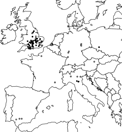 Geographical distribution of the prone burials and burials with the cephalic extremity displaced.Each dot represents a site. Grey and black dots indicate, respectively, prone burials and burials with the cephalic extremity displaced. Note the wide distribution of prone burials in both Continental Europe and Britain, and the cluster of burials with the cephalic extremity displaced in the latter.