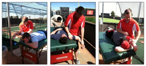 Demonstration of each stretch included in the stretching protocol. Left to right: pectoralis major stretch, subscapularis stretch, and latissimus dorsi stretch.