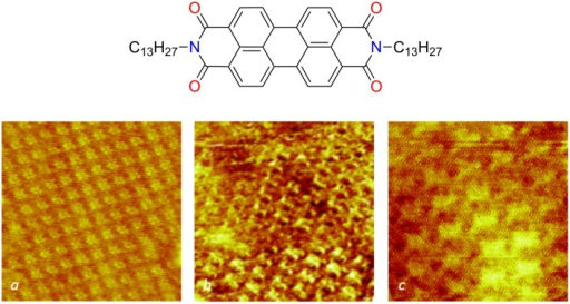 Structural characterization of the self-assembled PTCDI monolayers. Molecular formula of PTCDI-C13 and STM images of self-assembled monolayers on HOPG (a: 14 × 14 nm2) as-grown CVD monolayer graphene on copper foil (b: 11 × 11 nm2) and CVD graphene monolayer transferred onto a PET plate (c: 8 × 8 nm2). The typical current setpoint and sample bias were 10 pA and 800 mV, respectively. The images were acquired at the interface between the substrate and a ca. 10−5 M solution in phenyloctane at room temperature.