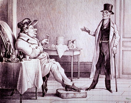 <p>Death, appearing as a doctor with top hat and cane, is standing before a stout man sitting in a chair; the man is holding a glass, and on the table next to him are the remnants of overindulgence.</p>