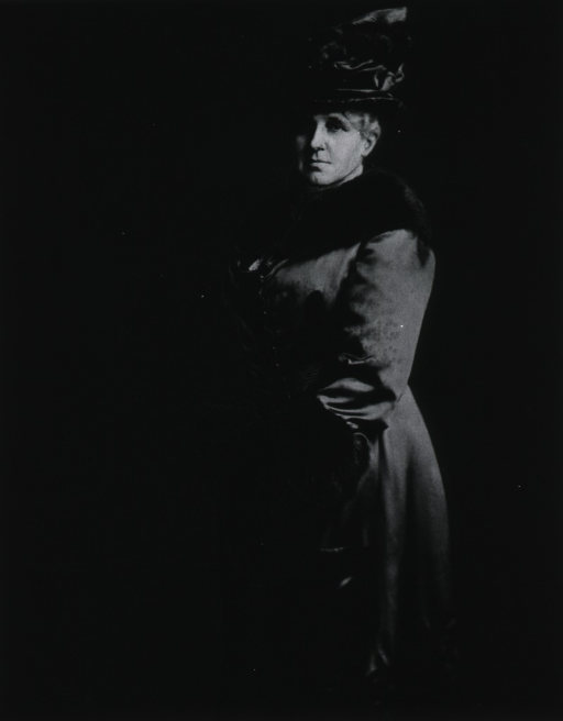 <p>Standing, three-quarter length, wearing long silk coat with fur and a hat, left pose.</p>