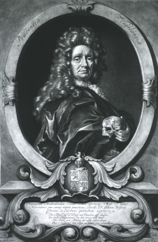 <p>Head and shoulders, right pose, holding skull; coat-of-arms.</p>