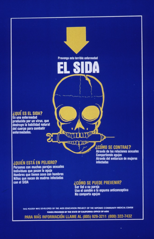 <p>Bright blue poster with white and yellow lettering.  Title near top of poster, directly below large yellow arrow.  Dominant visual image is a line drawing of a skull with its jaws around a syringe.  The lower part of the poster features a significant amount of text, asking and answering questions such as &quot;what is AIDS&quot; and &quot;who is in danger.&quot;  Sponsor and phone number for more information listed at very bottom of poster.</p>