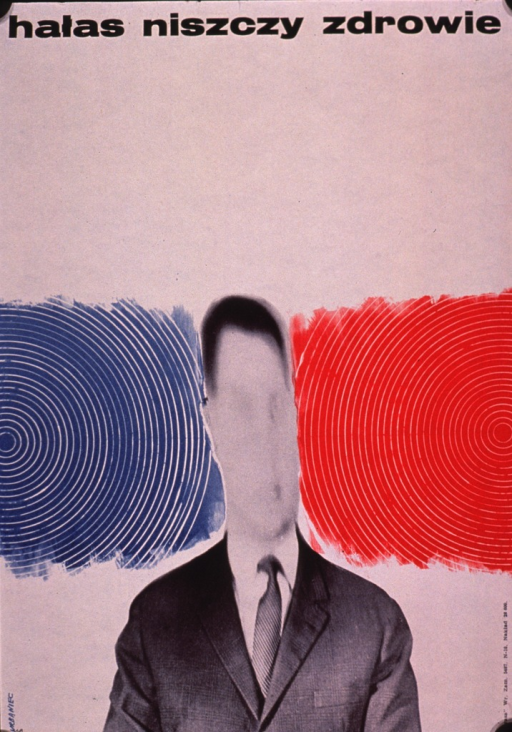 <p>Predominantly white poster with black lettering.  Title at top of poster.  Title appears to address noise being destructive to health.  Visual image is a b&amp;w photo reproduction of a man wearing a business suit; the man's head is surrounded by red and blue bars.  The bars have concentric white circles superimposed on them, creating the effect of waves or ripples.  The bars appear to be crushing the man's head.  Publisher information in lower left corner.</p>