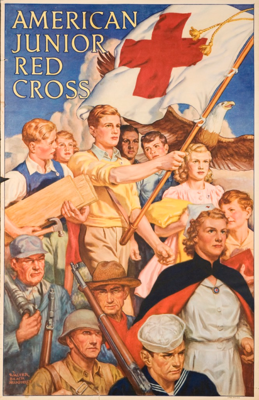 <p>Multicolor poster with yellow lettering. Visual image includes 7 children lead by a young man holding a flag of the Red Cross. One child stands next to the leader holding wood planks and a hammer. Another child, a young girl, holds a yellow blanket. Next to the young girl is a child holding a red book. The children are wearing pins of the American Junior Red Cross. Behind the children is a flying eagle. A group of adults in the foreground include a nurse in uniform, a sailor, a soldier, a farmer, and an industrial worker. Background of image includes a blue sky with clouds. Title at top of poster. Artist name in lower left-hand corner.</p>