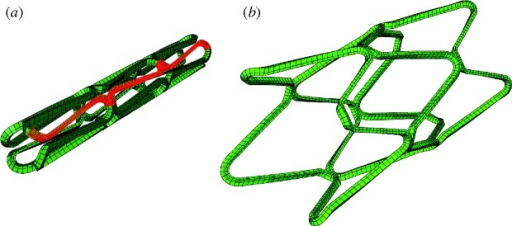 Finite element mesh of the unexpanded stent (a) and after expansion in a cylindrical artery (b). For computation, the stent and artery were reduced down to a 1/8 model in the circumferential direction, the modelled portion of the geometry can be seen in red.