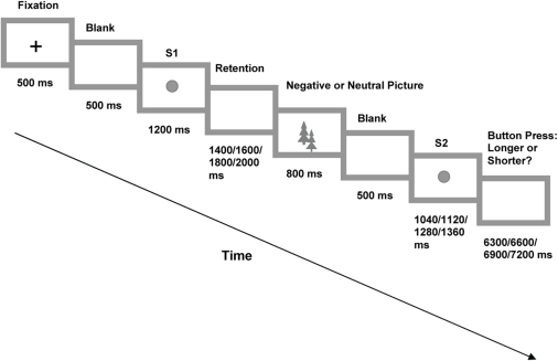 The sequence and duration of stimuli during a trial in Experiment 1 are shown.