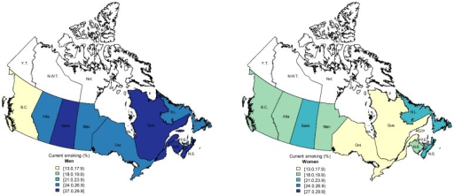 Adjusted prevalence of current smoking in Canadian provinces for men (left) and women (right) aged 15 years and above, Canadian Tobacco Use Monitoring Survey 2010.Darker colours indicate higher prevalence. Estimates adjusted for age, sex, marital status, occupation, education. Province name abbreviations: Alta. Alberta; B.C. British Columbia; Man. Manitoba; N.B. New Brunswick; N.L. Newfoundland; N.S. Nova Scotia; O.N. Ontario; P.E.I. Prince Edward Island; Que. Quebec; Sask. Saskatchewan; data not available for Yukon Territory (Y.T.), Northwest Territories (N.W.T), or Nunavut (Nvt.).