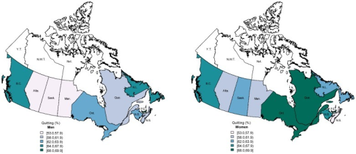 Adjusted prevalence of quitting in Canadian provinces for men (left) and women (right) aged 15 years and above, Canadian Tobacco Use Monitoring Survey 2010.Darker colours indicate higher prevalence. Estimates adjusted for age, sex, marital status, occupation, education. Province name abbreviations: Alta. Alberta; B.C. British Columbia; Man. Manitoba; N.B. New Brunswick; N.L. Newfoundland; N.S. Nova Scotia; O.N. Ontario; P.E.I. Prince Edward Island; Que. Quebec; Sask. Saskatchewan; data not available for Yukon Territory (Y.T.), Northwest Territories (N.W.T), or Nunavut (Nvt.).