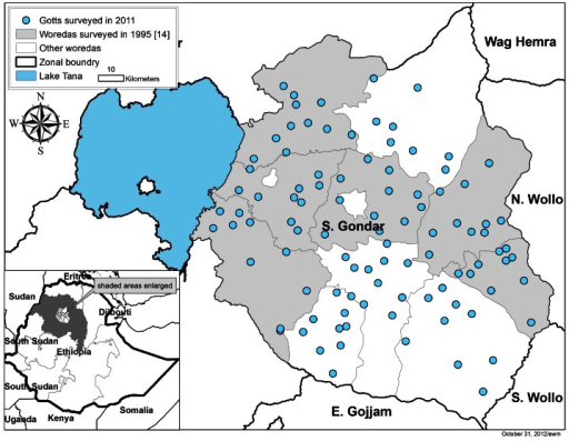 Location of gotts surveyed for both intestinal parasites and trachoma in South Gondar, Amhara Region, Ethiopia in mid-2011.