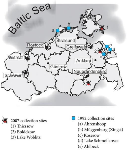 Tick-collection sites from 2007, where autochthonous cases of TBE have appeared in Mecklenburg-West Pomerania since 2004 and natural TBEV foci of 1992.