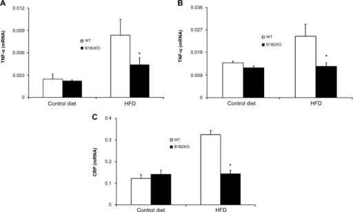 Inflammatory cytokines are downregulated in tissues of B1B2KO mice.Notes: TNF-α mRNA expression in white adipose tissue (A) and skeletal muscle tissue (B) after 12 weeks of HFD treatment. (C) CRP mRNA expression in the liver after 12 weeks of HFD treatment. Data are expressed as the mean ± standard error of the mean of the 2−ΔCt parameter and represent the relative expression between TNF-α/CRP and β-actin. White bars indicate WT control and HFD, black bars indicate B1B2KO control and HFD. *P<0.05 B1B2KO HFD versus WT HFD.Abbreviations: HFD, high-fat diet; WT, wild-type; CRP, C-reactive protein; TNF-α, tumor necrosis factor-alpha.