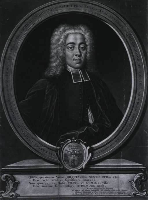 <p>Head and shoulders, front pose, wearing wig, in oval.  Latin inscription and coat-of-arms.</p>