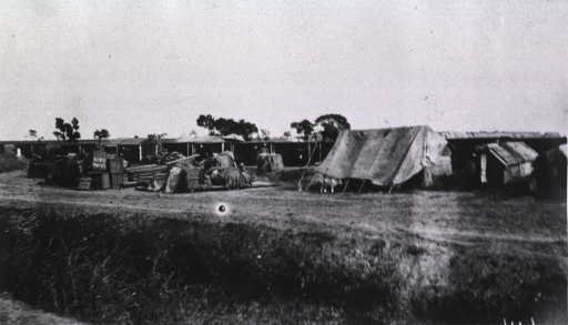 <p>A view of the shacks located behind the company quarters.</p>