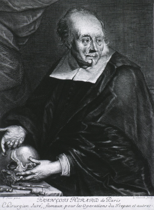 <p>Half-length, left pose, head turned to the right; pointing to site of trephination of skull; trephine on table.</p>