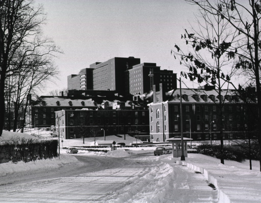 <p>Showing the Clinical Center on a winter's day.  Taken from the triangle at the junction of Center and South drives.</p>