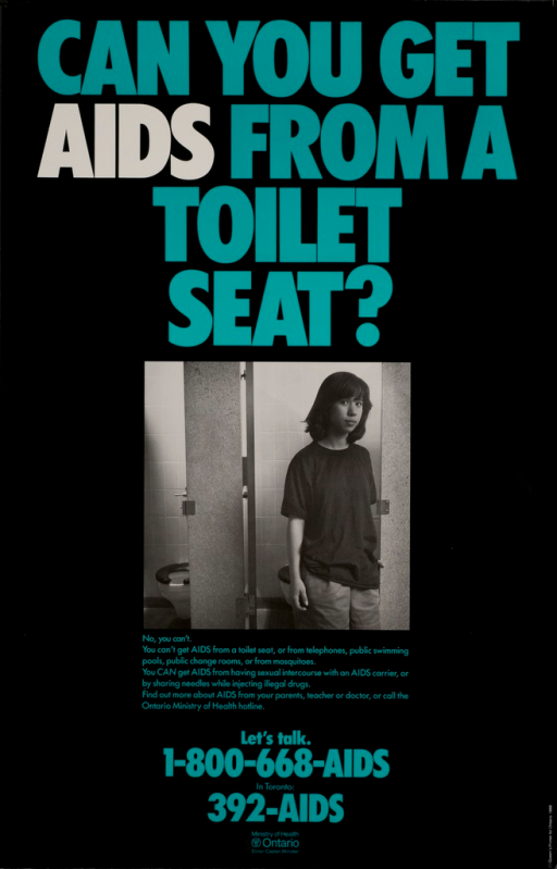<p>Predominantly black poster with green and white lettering.  Title at top of poster.  Visual image is a b&amp;w photo reproduction of a teen in what appears to be a public restroom.  Caption below photo addresses how AIDS is and is not transmitted.  Hotline numbers and publisher information at bottom of poster.  Verso of poster presents the same photo with French text.</p>