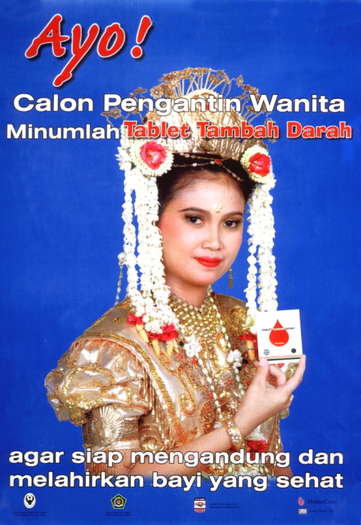 <p>Blue poster with multicolor lettering.  Title at top of poster.  Title appears to suggest that brides-to-be take a multivitamin and iron tablet.  Visual image is a reproduction of a color photo of a woman in golden wedding clothes, holding a package for the tablet.  Caption near bottom of poster may suggest that the supplement will help women be prepared for pregnancy and to have a healthy baby.  Publisher and sponsor information below caption.</p>